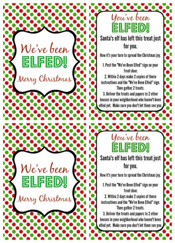 image relating to You Ve Been Socked Printable named Youve Been Elfed-Elf Pleasurable-Elf Printable