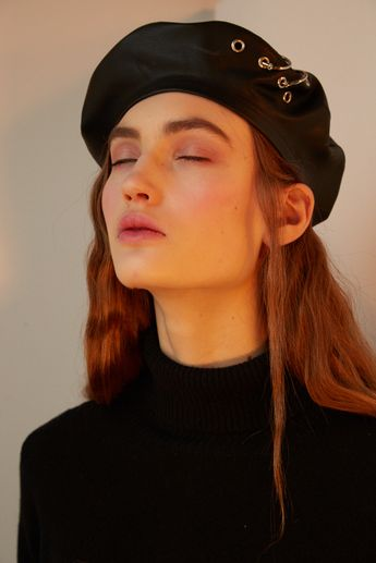 d1b7fb81aa279 Black eco leather beret with eyelets and piercings
