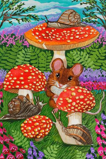 ACEO Original Art Mouse Mice Snails Mushrooms Spring Cute Animals Anne Berbling #Miniature