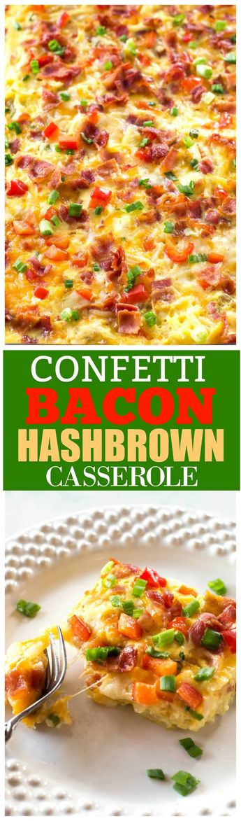 Confetti Bacon Hashbrown Casserole - a great breakfast for entertaining filled with cheesy hash browns, eggs, chiles, green onions, and red bell pepper. #easter #eggs the-girl-who-ate-everything.com