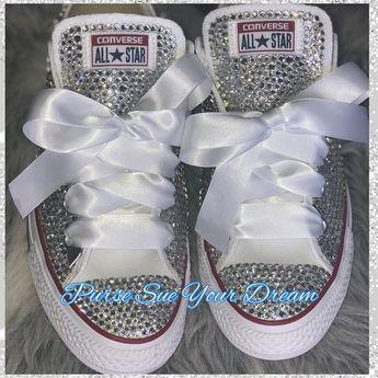 23ecdcdf9b960 Bridal Pearl and Crystal Rhinestone Converse Wedding Shoes