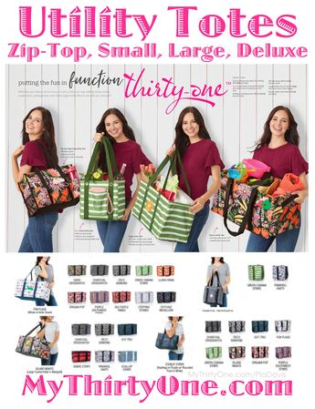 #31 Thirty-One Gifts Utility Totes come in all shapes and sizes... Zip-Top, Organizing, Small, Large & Deluxe. See them all at MyThirtyOne.com/PiaDavis. Large Utility Tote Spring 2019 prints include… Tropical Garden, Stepping Stones, Saltwater Shells, Purple Southwest Stripe, Llama-Rama, Green Cabana Stripe, Fun Flags, Deco Diamond, Origami Pop, Sea Turtle Tango, Stitched Medallion, Camo & Charcoal Crosshatch. Deluxe prints include... Island Nights, Pinwheel Party, Scallop Stripe, Ombre Stripe.
