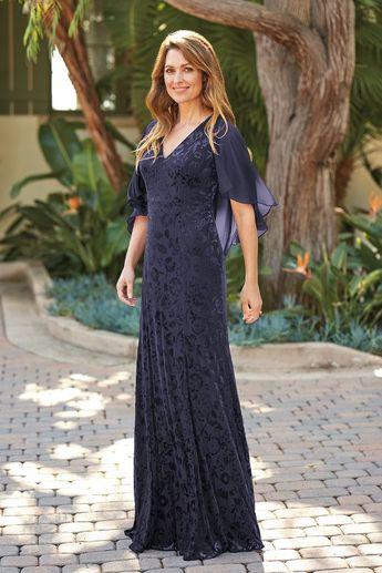 397a71fd7e J205052U V-neck Floral Stretch Velvet   Jade Chiffon MOB Dress