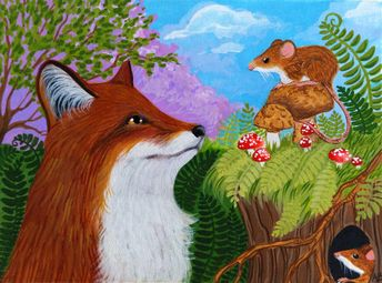 Details about ACEO Original Fox Mouse Mice Mushrooms Ferns Wildlife Art Painting Anne Berbling