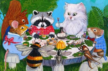Details about ACEO Original Cat Mouse Raccoon Squirrel Bee Party Bug Art Painting A. Berbling