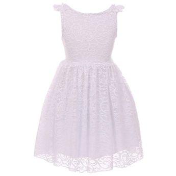 b39844029 Little Girls Dress Sleeveless Lace Wedding Evening Party Birthday Flower  Girl Dress White 4 (K20K88