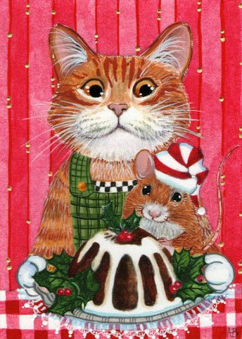 ACEO Original Cat Kitty Tabby Mouse Christmas Pudding Painting Anne Berbling #Miniature