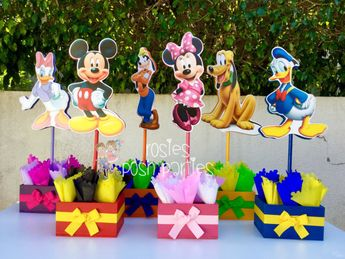 Mickey Mouse Clubhouse birthday party wood guest table centerpiece decoration Pluto Daisy Goofy Minnie Mickey Donald INDIVIDUAL PURCHASE