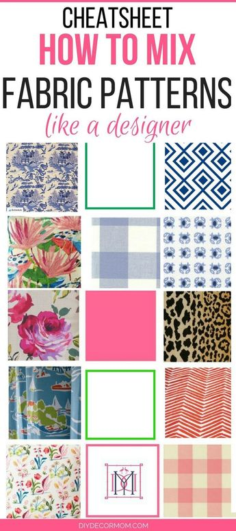Finally take the guesswork out of mixing fabric patterns in your home! This cheat sheet for mixing fabrics and color schemes is brilliant! PINNING for later! Mix fabric patterns with confidence and create a beautiful home with help from popular home decor