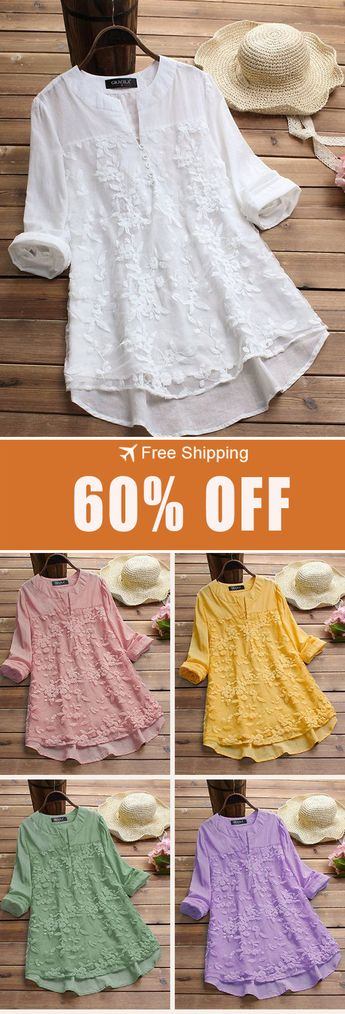 60% off&Free shipping.Floral Embroidery Patchwork Long Sleeve Irregular Blouse