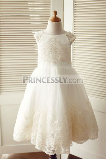 7ef2520620d Cap Sleeves Champagne Lace Ivory Tulle Wedding Flower Girl Dress