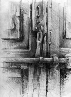 This graphite and charcoal drawing is quite interesting. It has some fine details in it and as well as textures which can only be created through the roughness and softer hatchings and the obvious light and dark.