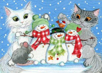 ACEO Original Cat Kitty Tabby Mouse Snowmen Snow Bird Painting Anne Berbling #Miniature