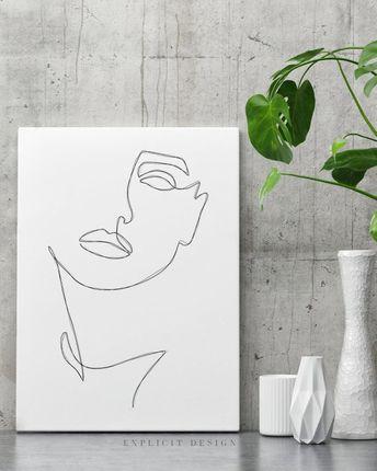 Abstract One-Line Feminine Face Printable Minimalist Woman   Etsy