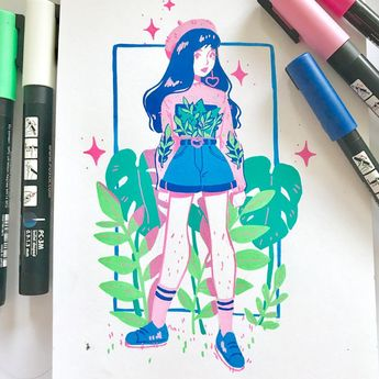 Another fun lil posca piece! ✨🌿 I'm thinking of doing commissions like these at Sydney supernova! ✨ I really wanna draw some fun outfits! Haha 💖🌿 #illustration #posca #poscapen #illo #illust #pastel #ootd