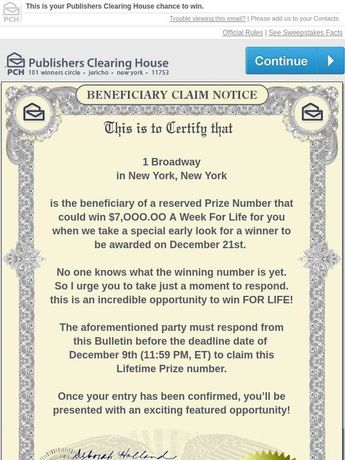 Publishers Clearing House Entry