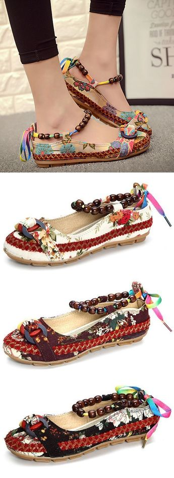 $26.99 USD Bead Chain Knitting Butterflyknot For Women Vintage Retro National Wind Lace Up Flat Shoes