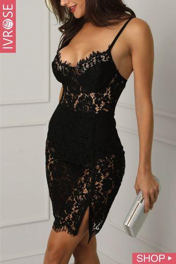 Eyelash Lace Crochet Side Slit Bodycon Dress