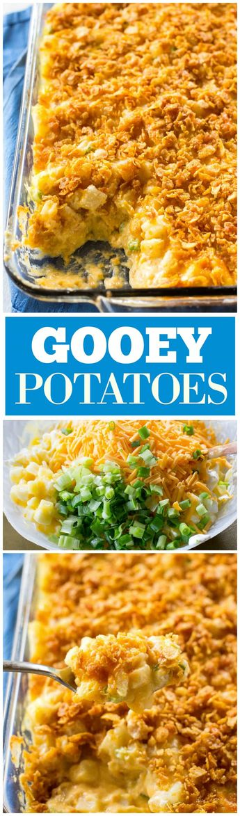 Gooey Potatoes - creamy, cheesy potatoes topped with buttery crunchy cornflakes. Some people call these funeral potatoes but this name is much less morbid. #easter #potatoes #recipe the-girl-who-ate-everything.com