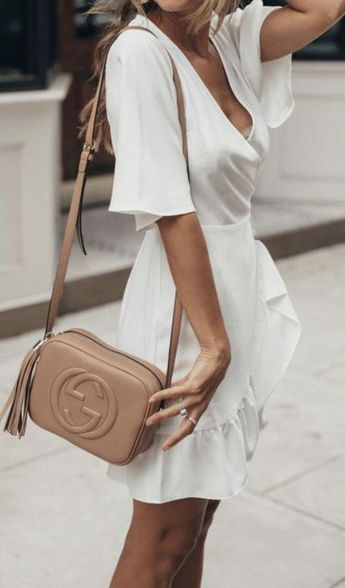 e0ff133a4a1a2d white dresses + gucci crossbody leather bag | womens outfit ideas | street  style #guccihandbags