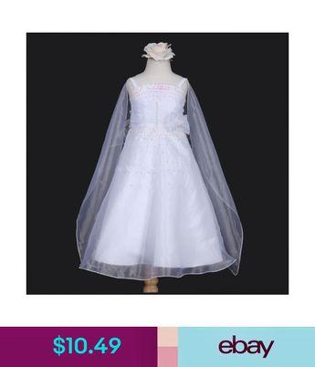 6b4d3dc073d $10.49 - White Sequins A-Line Scarf Shawl Wedding Flower Girl Dress 4 6 8