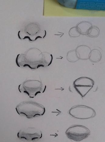 Different nose shapes. Semi-realistic. - #draw #nose #Semirealistic #shapes