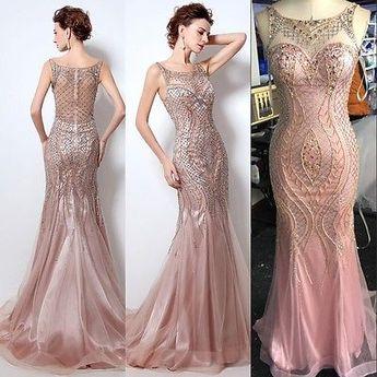 61664af9d3ab Elegant Beaded Formal Evening Dress Blush Mermaid Long Wedding Prom Party  Gown 8