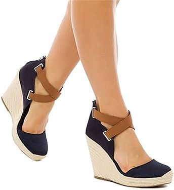 5fac8f983 Amazon.com | Wedges Shoes for Women Espadrilles Navy Blue Heels Ferbia Ankle  Strap Fall
