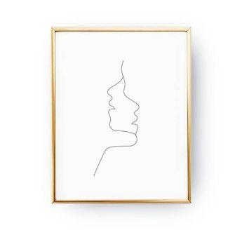 Two Faces Print, Simple Fashion, Woman Illustration, Woman Art, Black And White, Sketch Art, Woman Face Print, Minimal Art, Drawn Face Art
