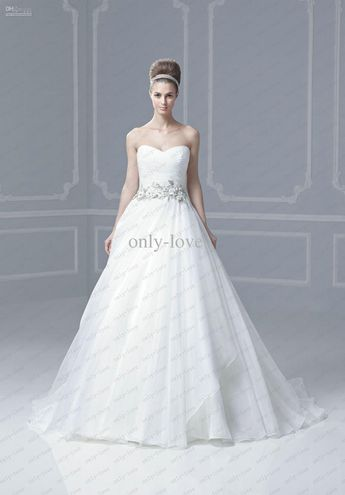 dee5b04f20 White Wedding Dresses Pleated Sweetheart Sleeveless Empire Waist Beaded  Lace Belt ENZOANI florida