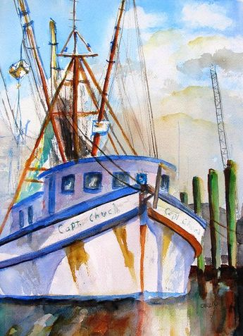 Shrimp Fishing Boat Art Print by CarlinArt Watercolor
