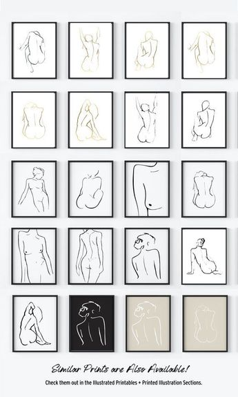 Abstract Figure Drawing. Original Art. Minimal Line Illustration. Line Contour. Figurative Art. Black and White Nude Figure. Line Art Print  Available at The Peoples Prints @ www.etsy.com/shop/thepeoplesprints
