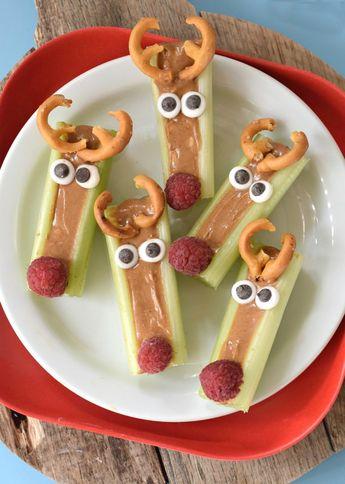 Peanut Butter Celery Reindeer Sticks