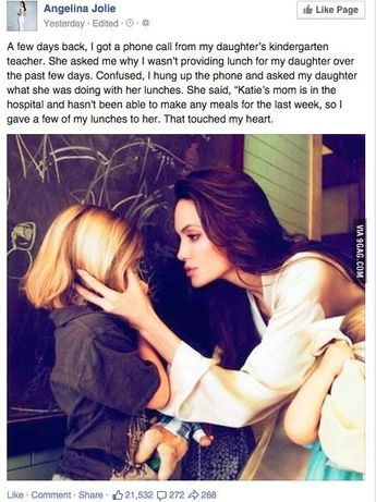 Angelina Jolie has a 100% true story about her altruistic kid