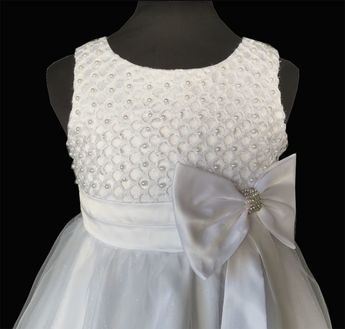 cf0e2ce10ae Παιδικό Φόρεμα σε Λευκό για Παρανυφάκι, Πάρτυ, Βάπτιση