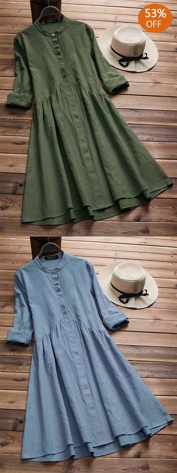 Vintage Cotton Stand Collar Pleated Dress