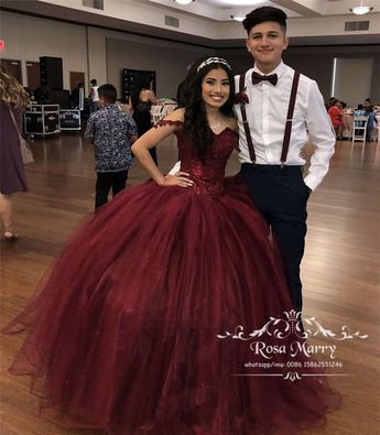 bca57387cd1 Burgundy Sweet 16 Masquerade Quinceanera Dresses 2018 Off Shoulder Ball Gown  Vintage Lace Sequined Plus Size