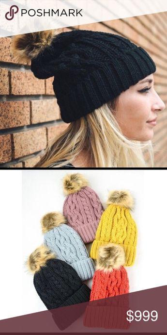 bc6e3dda847f5 BLACK Sweater Knit Pompom Beanie Hat Sweater Knit Pompom Hat In Style
