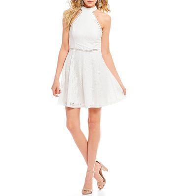 b343825abb Jodi Kristopher Illusion-Waist Lace Fit-And-Flare Dress  Dillards