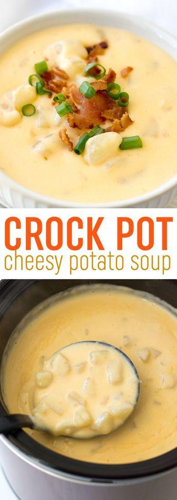 Crock Pot Cheesy Potato Soup Recipe - Slow Cooker Potato Soup