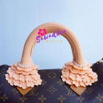 55580c5b1778 Free Shipping  Handmade Crochet Bag Handle Cover Protector for LV Louis  Vuitton Speedy 25