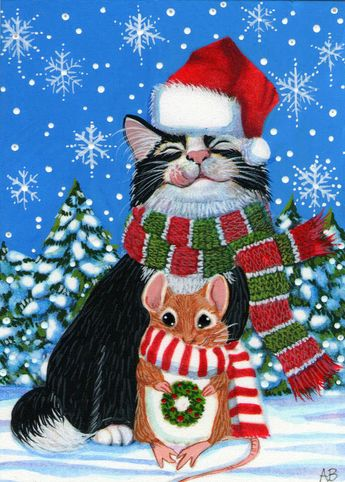 ACEO Original Tuxedo Cat Kitty Mouse Snow Snowflakes Mice Painting Anne Berbling #Miniature