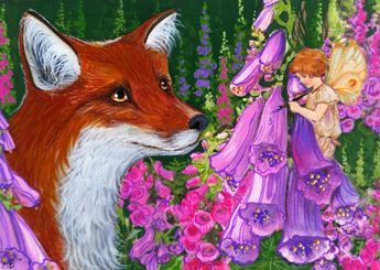 ACEO Original Fox Fairy Faerie Fae Artist Foxgloves Art ATC Painting A. Berbling