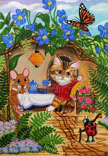 ACEO Original Cat Kitten Calico Mouse Mice Ladybug Butterfly Monarch A. Berbling #Miniature