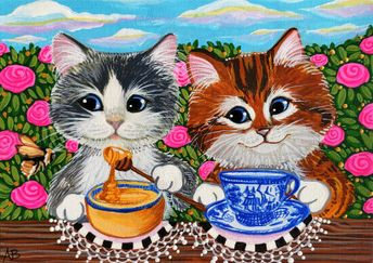 ACEO Original Cat Kitten Kitty Honey Bee Tea Blue Willow Art Painting A Berbling #Miniature