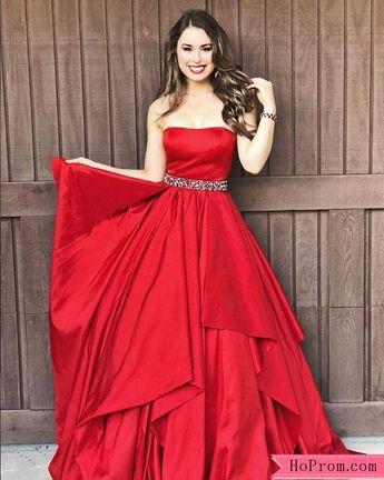 c0d6fd1c7383 Strapless Red Taffeta Evening Ballgown Prom Dress Beaded Waistband