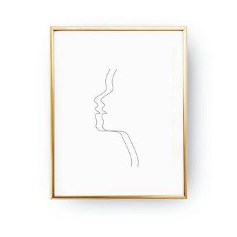 Woman Double Face, Woman Art, Black And White, Sketch Art, Woman Face Print, Minimal Art, Drawn Face
