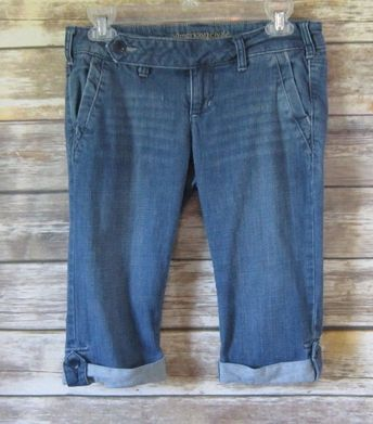 2a1412b9dad Details about American Eagle womens long shorts size 0 green white striped  cotton bermuda