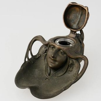 Art Nouveau Inkwell of Woman. Copyright © 2002–2013 LiveAuctioneers. I love that the ink comes from her head.