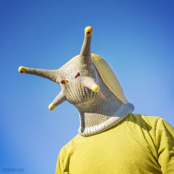 I don't know why ! surreal bizarre photo of man wearing a snail mask on his head , very odd, freaky stuff going on in this mind I'm sure